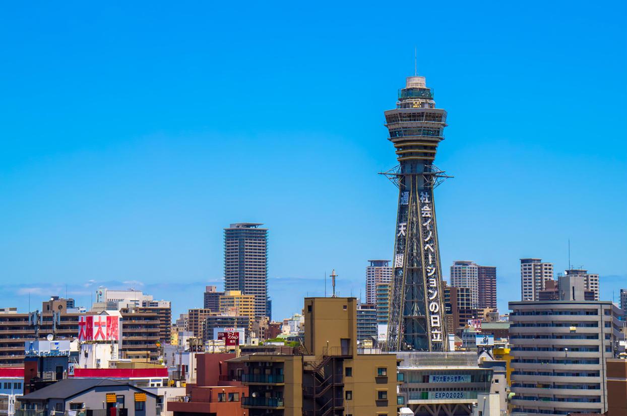 大阪の街と通天閣