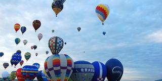 佐賀バルーンフェスタで、たくさんの気球に感動する朝。
