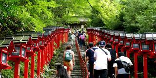 京都鞍馬から山越えで貴船に降り、川床初体験
