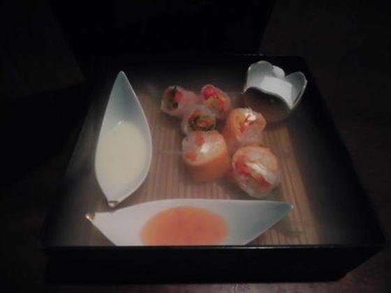 二種の生春巻き 玉手箱仕立て スモークサーモン&クリームチーズ 生ハム&貝割れ大根