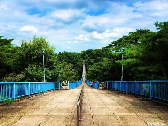 反対側まで続く長い橋