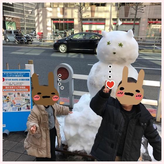 靖国通りの雪だるま