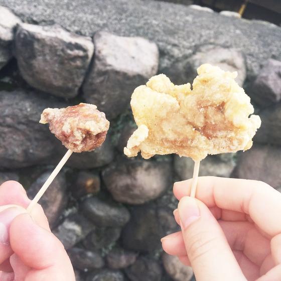 骨なしモモ肉とズリからの唐揚げ。