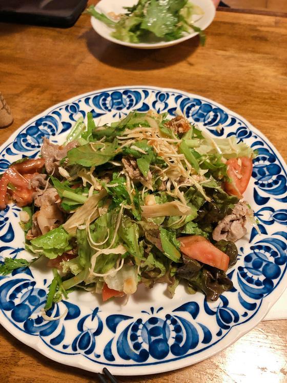 ゆで豚と春菊のサラダ