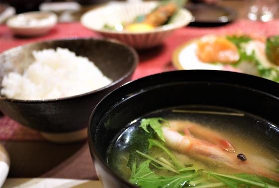特Aコシヒカリと甘海老の味噌汁
