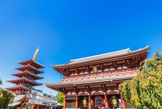 昼間の浅草寺と五重塔
