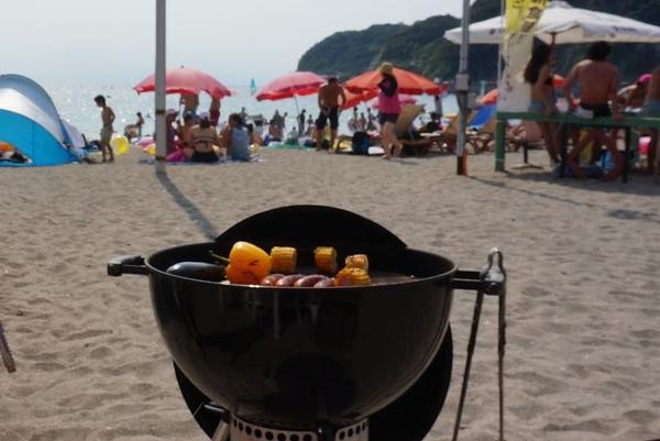 暑い中BBQ