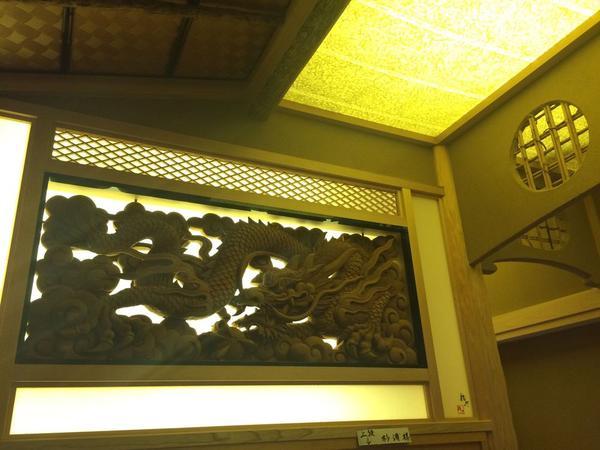 欄間に龍の日光彫