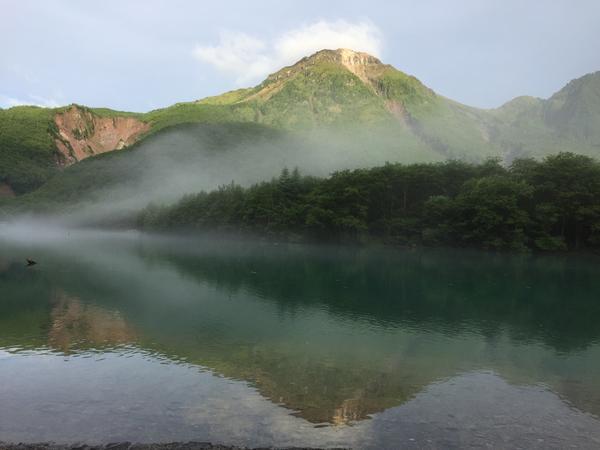 朝靄の大正池