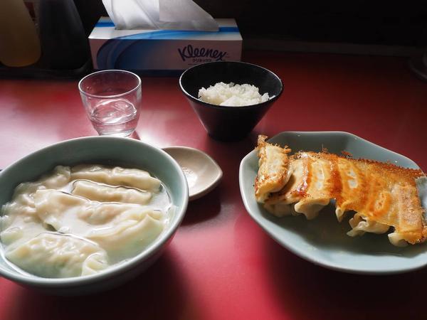 焼餃子と水餃子+ライス