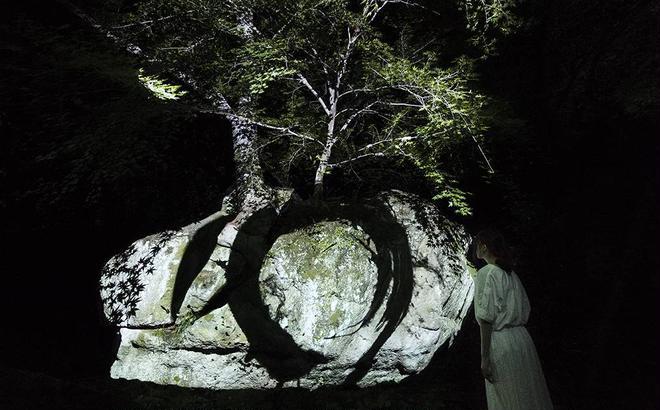 岩割もみじと円相/Split Rock and Enso